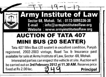 Auction of Tata 407 Mini Bus (Army Institute of Law)
