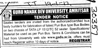 Bus Body Builders for fabrication (Guru Nanak Dev University (GNDU))