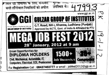 Mega Job fest 2012 (Gulzar Group of Instituties Khanna)