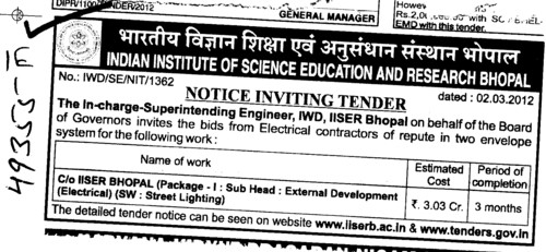 External Development Work (Indian Institute of Science Education and Research (IISER))