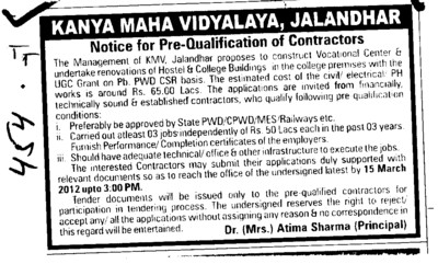 Prequalification of Contractors (Kanya Maha Vidyalaya)