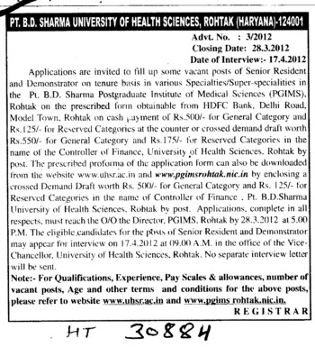 Senior Resident and Demonstrator on tenure basis (Pt BD Sharma University of Health Sciences (BDSUHS))