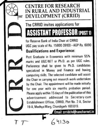 Assistant Professors for Reverse Bank of india chair at CRRID (Centre for Research in Rural and Industrial Development (CRRID))