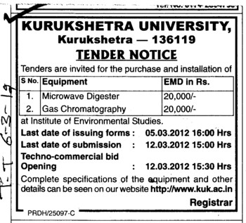 Microwave Digester and Gas Chromatography (Kurukshetra University)