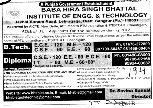 BTech and Diploma Courses (Baba Hira Singh Bhattal Institute of Engineering and Technology (BHSBIET))