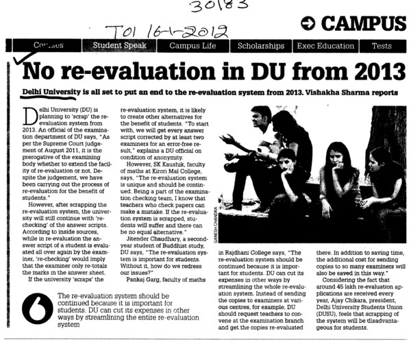 No re evaluation in DU from 2013 (Delhi University)