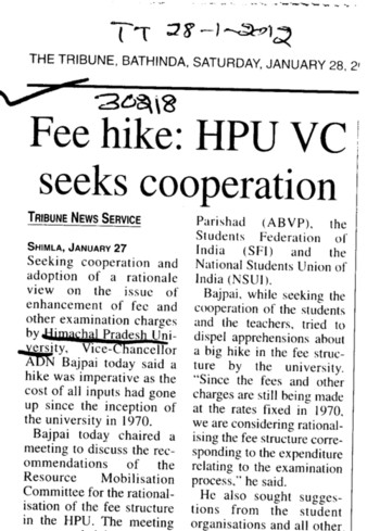 HPU VC seeks cooperation (Himachal Pradesh University)