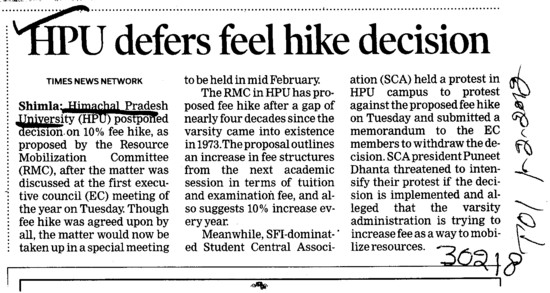 HPU defers feel hike decision (Himachal Pradesh University)