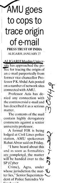 AMU goes to cops to trace origin to email (Aligarh Muslim University (AMU))