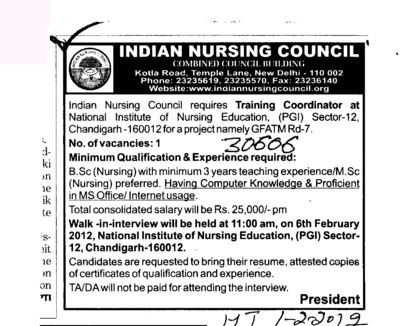 Training Coordinator (Indian Nursing Council (INC))