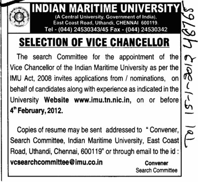 Selection of Vice Chancellor (Indian Maritime University)