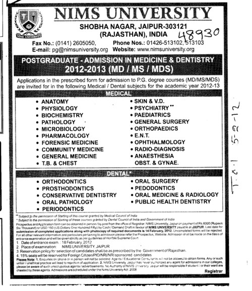 Post Graduate Programmes (NIMS University)