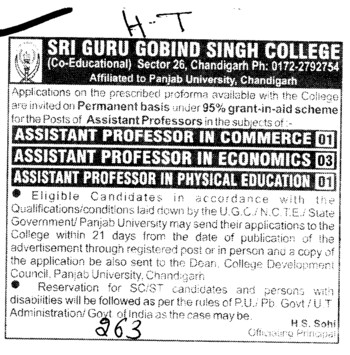 Asstt Professor in Commerce and Economics etc (SGGS Khalsa College Sector 26)