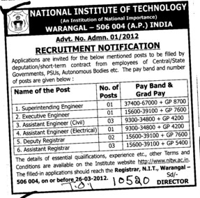 Superintending Engineer and Deputy Registrar etc (National Institute of Technology NIT)