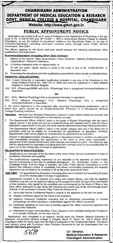 Public Appointment Notice (Government Medical College and Hospital (Sector 32))