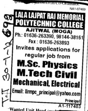 MSc Physics and MTech in Civil (Lala Lajpat Rai Memorial Polytechnic College)