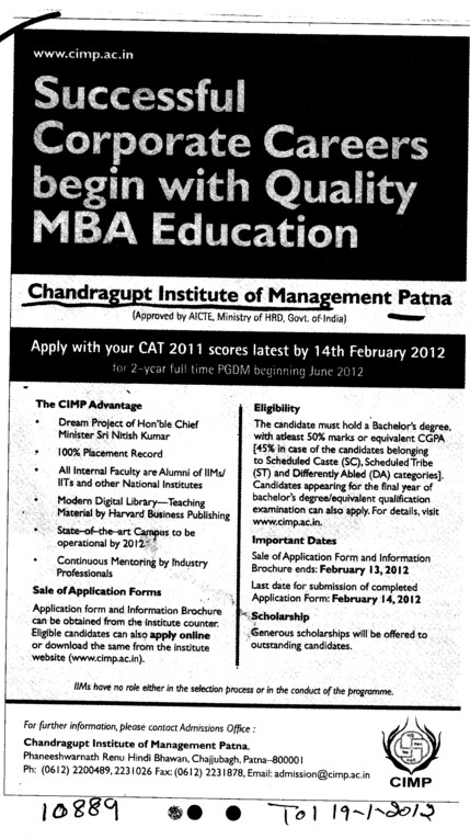 MBA Course (Chandragupt Institute of Management (CIM))