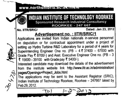 Project of setting up Hydro Turbine R and D Laboratory (Indian Institute of Technology (IITR))