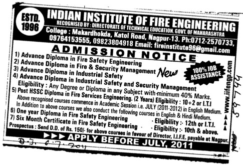 Advanced Diploma in Fire Safety Engineering etc (Indian Institute of Fire Engineering)