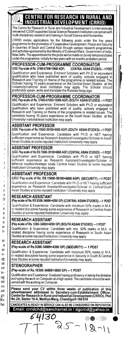 Professor,Asstt Professor and Associate Professor etc (Centre for Research in Rural and Industrial Development (CRRID))