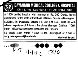 Purchase Officers and Purchase Manager etc (Dayanand Medical College and Hospital DMC)