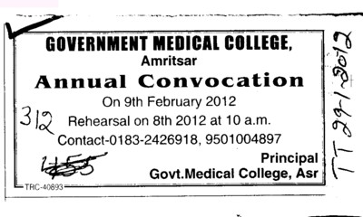 Annual Convocation 2012 (Government Medical College)