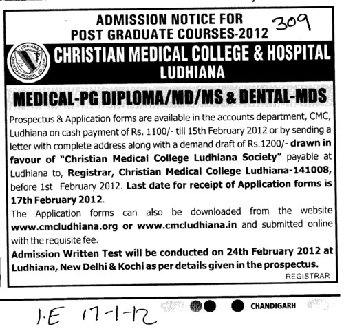 MD,MS and PG Diploma courses (Christian Medical College and Hospital (CMC))