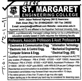 Professor,Asstt Professor and Associate Professor etc (St Margaret Engineering College)