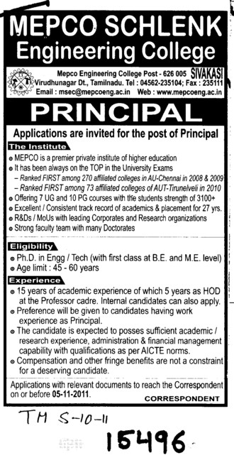 Principal on regular basis (Mepco Schlenk Engineering College (MSEC))