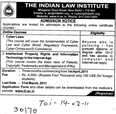 Cyber Laws courses (Indian Law Institute)