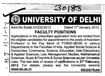 Assistant Professor on regular basis (Delhi University)