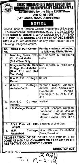 BA Programme in Part one.two etc (Kurukshetra University)