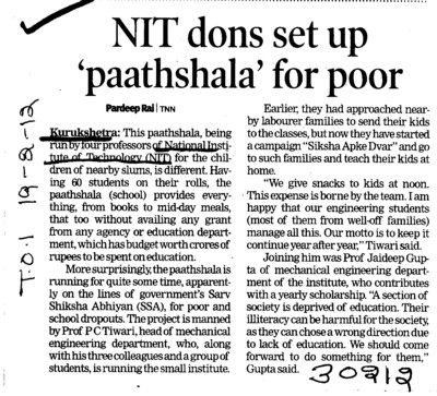 NIT dons set up paathshala for poor (National Institute of Technology (NIT))