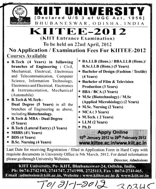 BTech,B Arch,MBA and MCA (KIIT University)