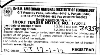 Supply of Answer Sheets (Dr BR Ambedkar National Institute of Technology (NIT))
