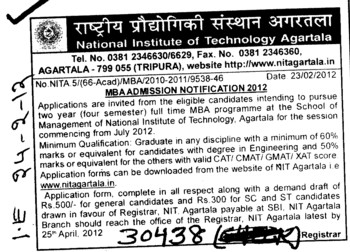 MBA 2012 (National Institute of Technology NIT)