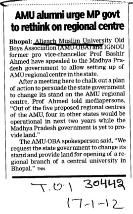 AMU Alumni urge MP govt to rethink on regional centre (Aligarh Muslim University (AMU))