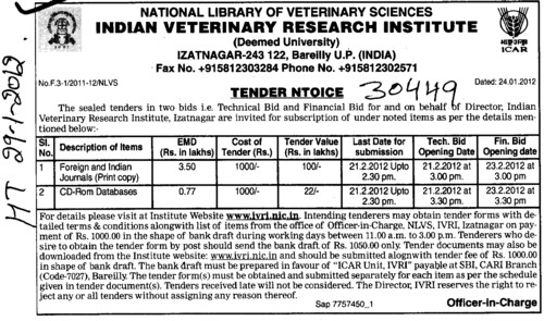 CD ROM Databases (Indian Veterinary Research Institute IVRI)