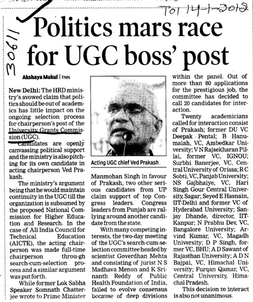 Politics mars race for UGC boss post (University Grants Commission (UGC))