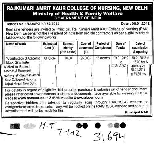 Construction of Academic Block (Rajkumari Amrit Kaur College Of Nursing)