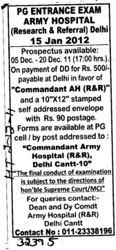 PF Entrance Test (Army Hospital (Research and Referral))