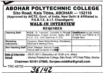 HOD,Senior Lecturer and Lecturer (Abohar Polytechnic College)
