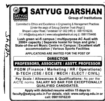 Professor,Asstt Professor and Associate Professor etc (Satyug Darshan Institute of Education and Research (For Women))