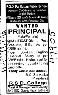 Principal on regular basis (RSD College)