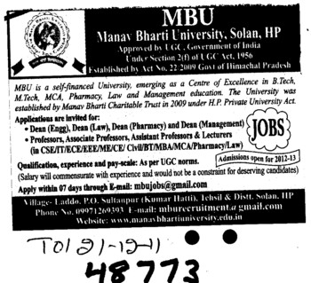 Dean,Professor,Asstt Professor and Associate Professor etc (Manav Bharti University (MBU))