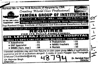 Nurses and MBBS Freshers etc (Yamuna Group of Institutions)