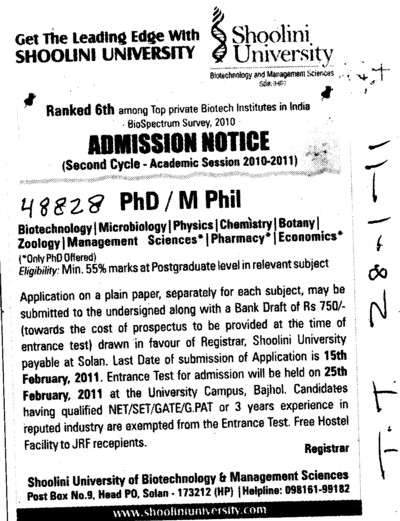 PhD and M Phill Programmes (Shoolini University)