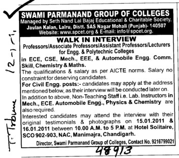 Professor,Asstt Professor and Associate Professor etc (Swami Parmanand Group of Colleges)