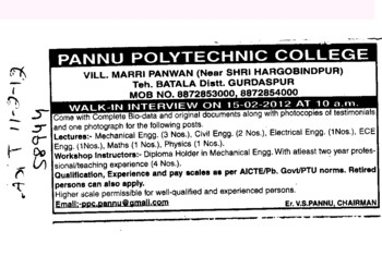 Lecturers and Workshop Instructor etc (Pannu Polytechnic College)