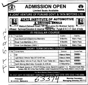 ITI Regular Course and Driving Course (State Institute of Automotive and Driving Skill)